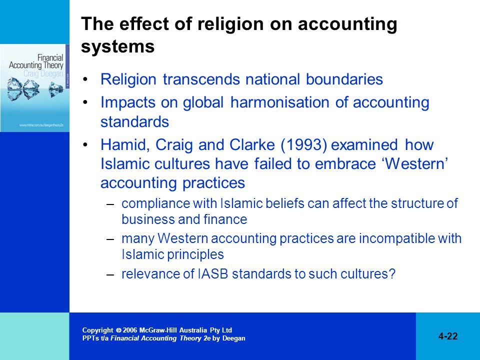 4-22 Copyright  2006 McGraw-Hill Australia Pty Ltd PPTs t/a Financial Accounting Theory 2e by Deegan The effect of religion on accounting systems Religion transcends national boundaries Impacts on global harmonisation of accounting standards Hamid, Craig and Clarke (1993) examined how Islamic cultures have failed to embrace 'Western' accounting practices –compliance with Islamic beliefs can affect the structure of business and finance –many Western accounting practices are incompatible with Islamic principles –relevance of IASB standards to such cultures?