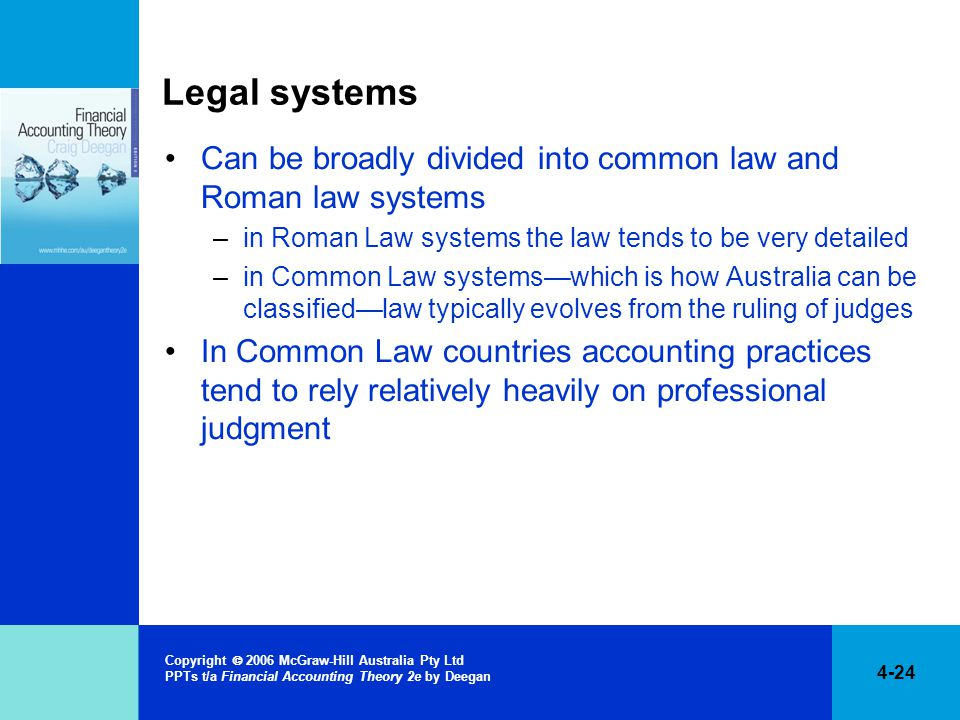 4-24 Copyright  2006 McGraw-Hill Australia Pty Ltd PPTs t/a Financial Accounting Theory 2e by Deegan Legal systems Can be broadly divided into common