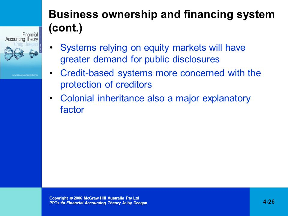 4-26 Copyright  2006 McGraw-Hill Australia Pty Ltd PPTs t/a Financial Accounting Theory 2e by Deegan Business ownership and financing system (cont.) Systems relying on equity markets will have greater demand for public disclosures Credit-based systems more concerned with the protection of creditors Colonial inheritance also a major explanatory factor
