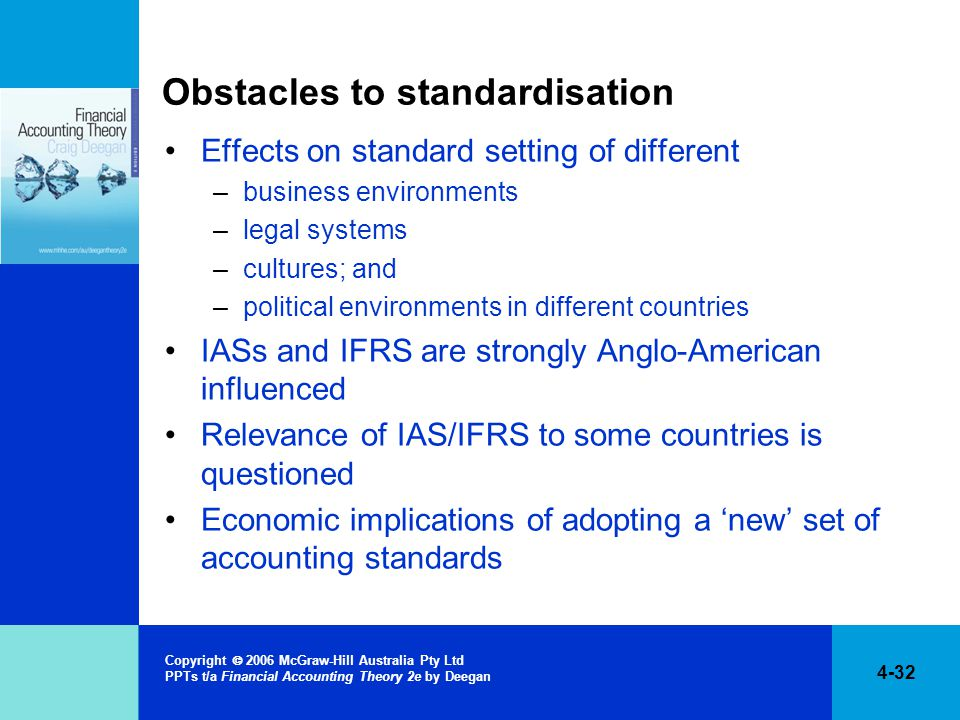 4-32 Copyright  2006 McGraw-Hill Australia Pty Ltd PPTs t/a Financial Accounting Theory 2e by Deegan Obstacles to standardisation Effects on standard setting of different –business environments –legal systems –cultures; and –political environments in different countries IASs and IFRS are strongly Anglo-American influenced Relevance of IAS/IFRS to some countries is questioned Economic implications of adopting a 'new' set of accounting standards