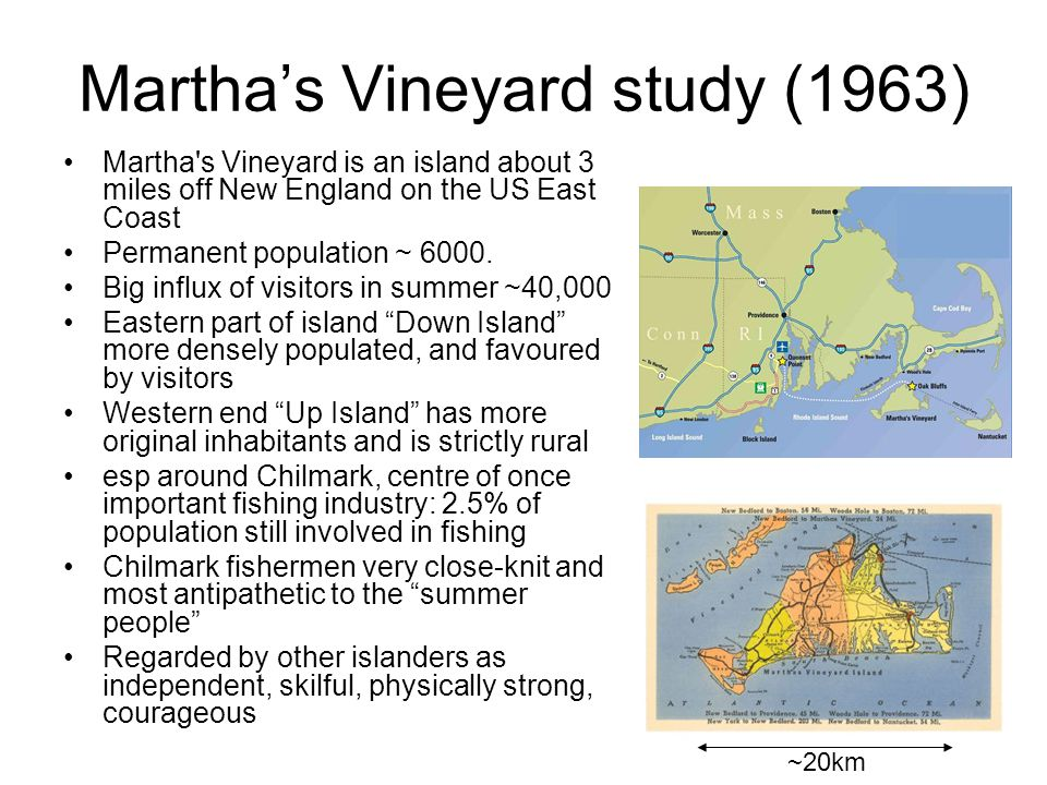 4 Martha's Vineyard demographics Permanent population consists of Yankees (descendants of early settlers), Portuguese (more recent immigrants) and Native Americans esp around Chilmark, centre of once important fishing industry: 2.5% of population still involved in fishing Chilmark fishermen very close-knit and most antipathetic to the summer people Regarded by other islanders as independent, skilful, physically strong, courageous