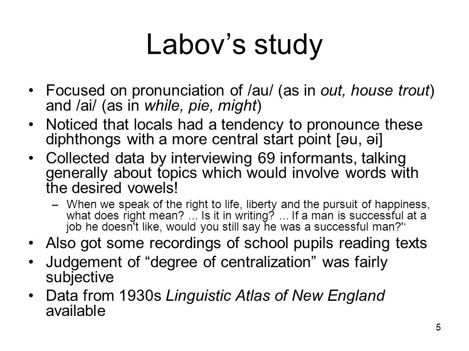 16 Another factor Labov had expected results to reflect prestige, but difference between careful and casual pronunciation suggests other factors at work Follow-up study looked at use of [r] in different styles of speech by different social classes