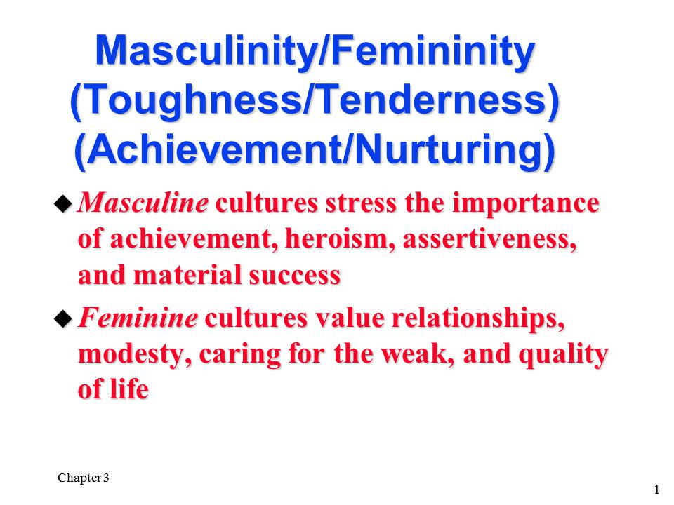 1 Chapter 3 Masculinity/Femininity (Toughness/Tenderness) (Achievement/Nurturing) u Masculine cultures stress the importance of achievement, heroism, assertiveness, and material success u Feminine cultures value relationships, modesty, caring for the weak, and quality of life