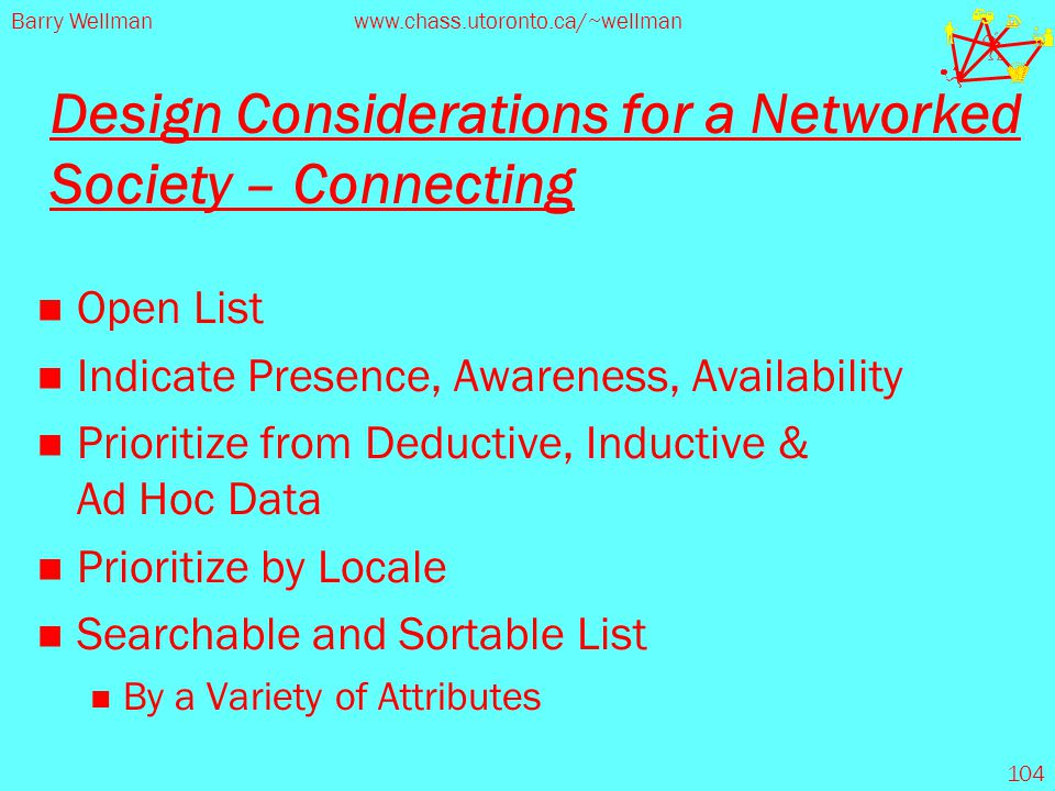 Barry Wellmanwww.chass.utoronto.ca/~wellman 104 Design Considerations for a Networked Society – Connecting Open List Indicate Presence, Awareness, Ava