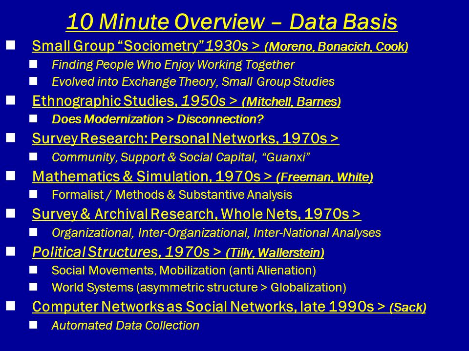 "10 Minute Overview – Data Basis Small Group ""Sociometry""1930s > (Moreno, Bonacich, Cook) Finding People Who Enjoy Working Together Evolved into Exchan"