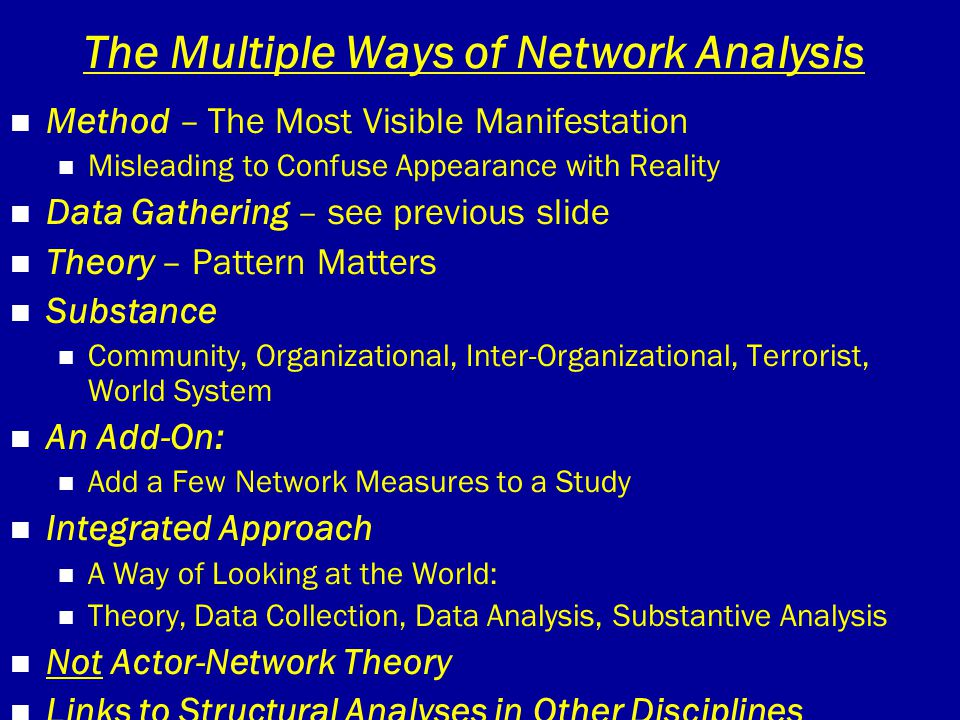 The Multiple Ways of Network Analysis Method – The Most Visible Manifestation Misleading to Confuse Appearance with Reality Data Gathering – see previ