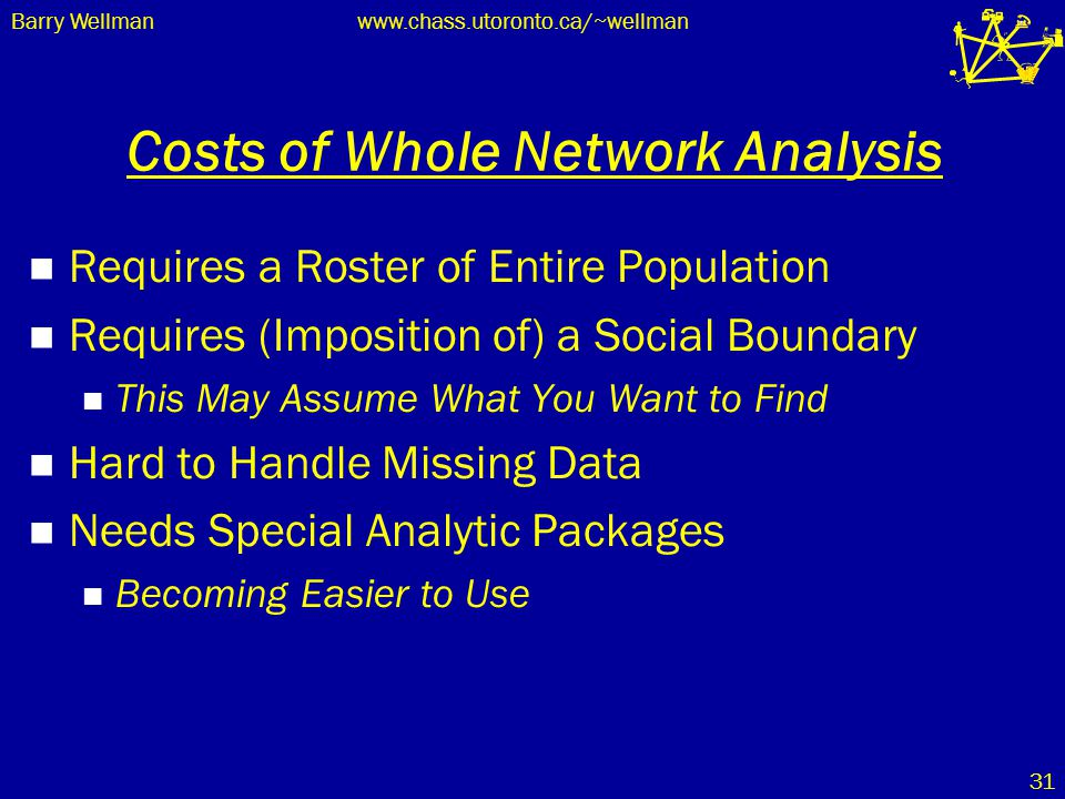 Barry Wellmanwww.chass.utoronto.ca/~wellman 31 Costs of Whole Network Analysis Requires a Roster of Entire Population Requires (Imposition of) a Socia