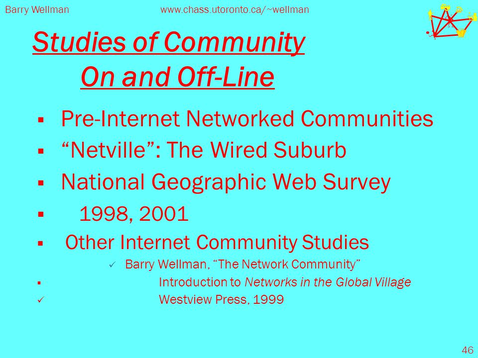"Barry Wellmanwww.chass.utoronto.ca/~wellman 46 Studies of Community On and Off-Line  Pre-Internet Networked Communities  ""Netville"": The Wired Subur"
