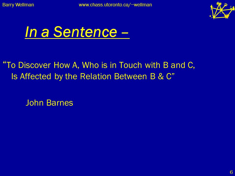 "Barry Wellmanwww.chass.utoronto.ca/~wellman 6 In a Sentence – "" To Discover How A, Who is in Touch with B and C, Is Affected by the Relation Between B"