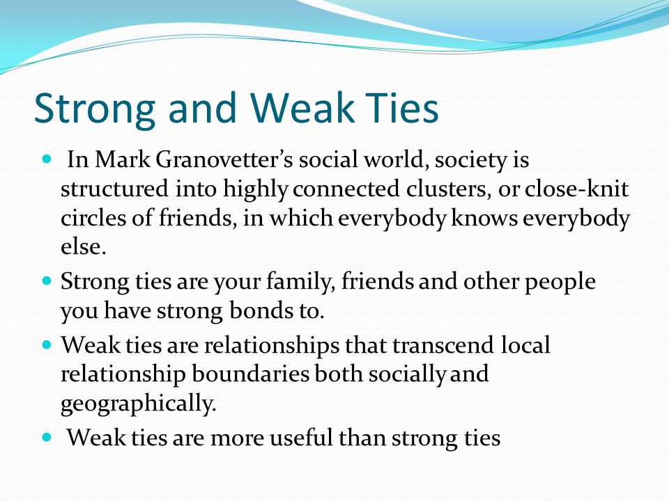 Strong and Weak Ties In Mark Granovetter's social world, society is structured into highly connected clusters, or close-knit circles of friends, in which everybody knows everybody else.