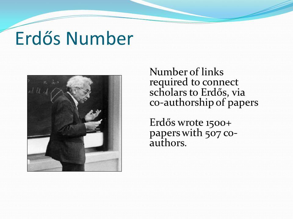 Erdős Number Erdos has Erdos number zero.