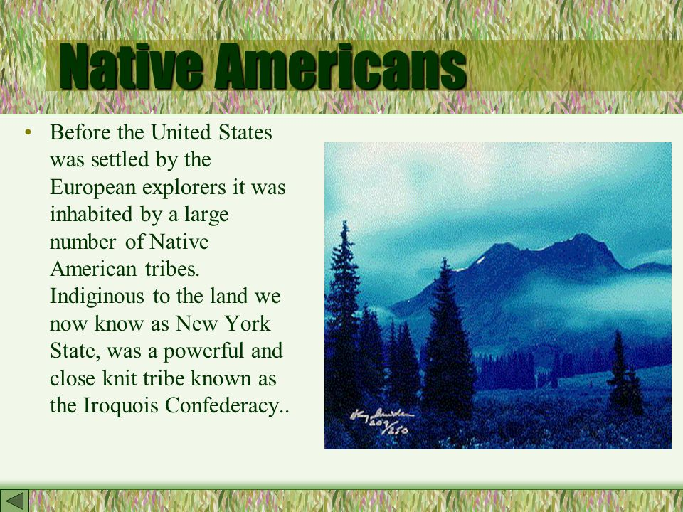 Native Americans Before the United States was settled by the European explorers it was inhabited by a large number of Native American tribes.