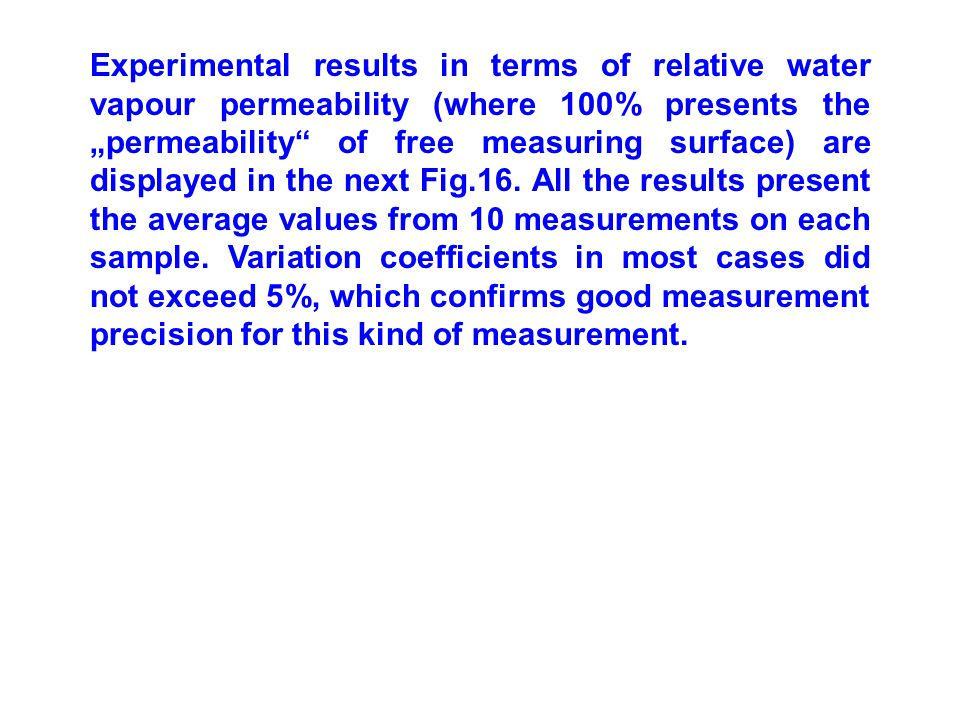 """Experimental results in terms of relative water vapour permeability (where 100% presents the """"permeability of free measuring surface) are displayed in the next Fig.16."""