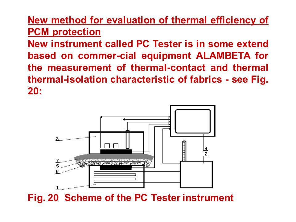 New method for evaluation of thermal efficiency of PCM protection New instrument called PC Tester is in some extend based on commer-cial equipment ALAMBETA for the measurement of thermal-contact and thermal thermal-isolation characteristic of fabrics - see Fig.