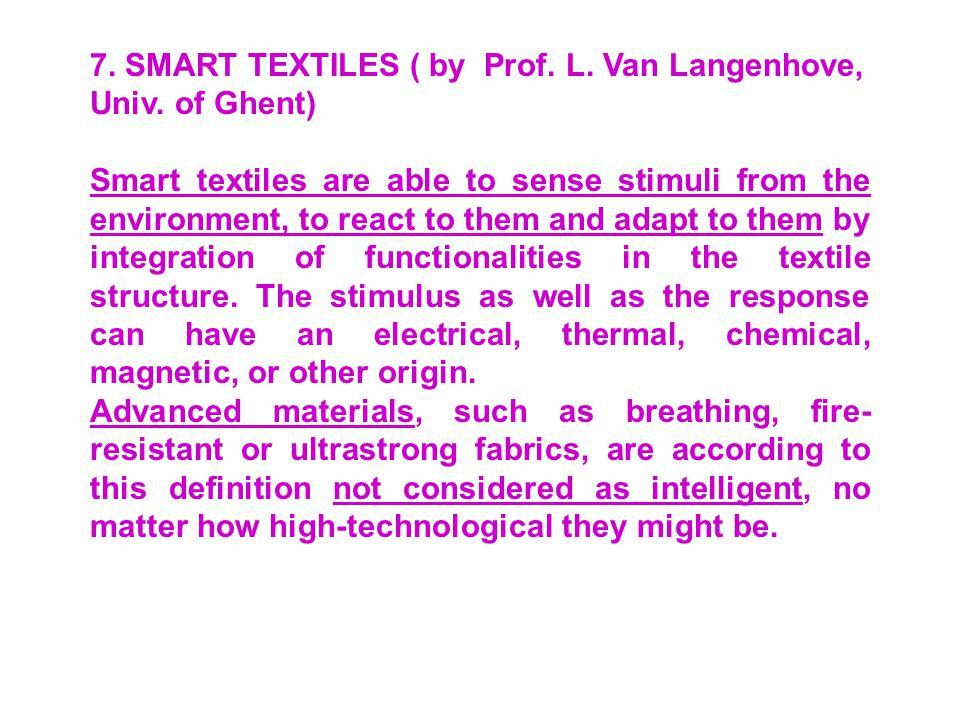 7.SMART TEXTILES ( by Prof. L. Van Langenhove, Univ.