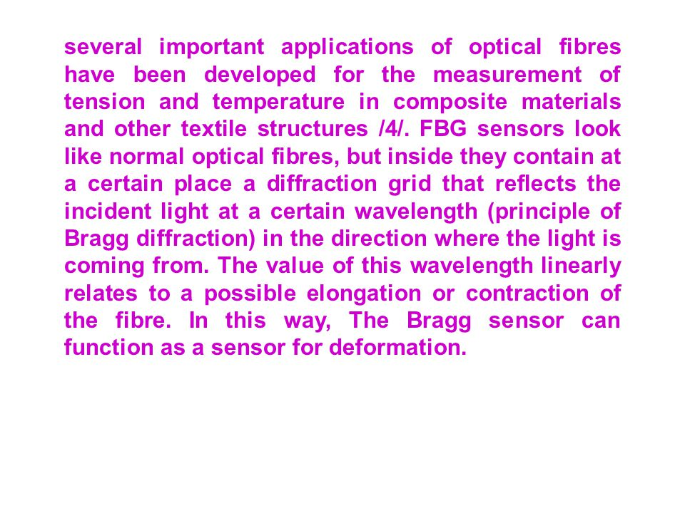 several important applications of optical fibres have been developed for the measurement of tension and temperature in composite materials and other textile structures /4/.