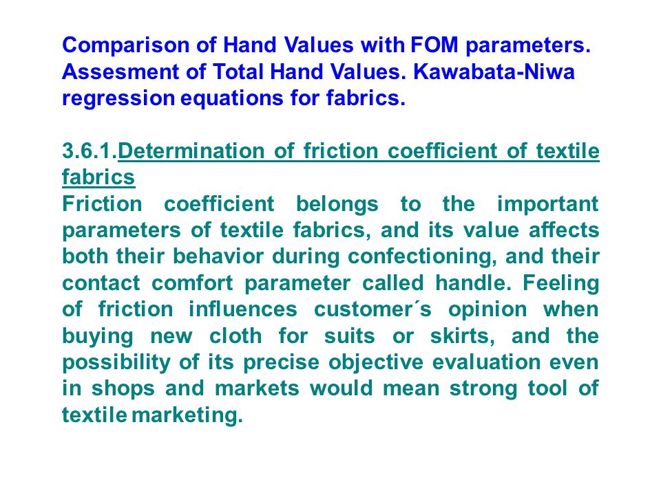 Comparison of Hand Values with FOM parameters.Assesment of Total Hand Values.