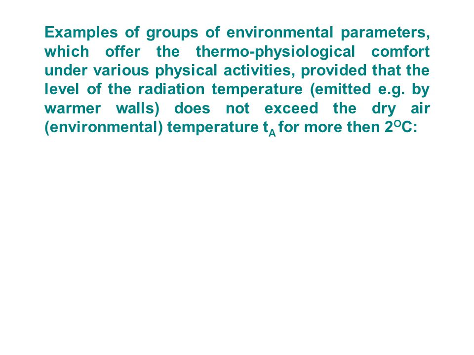 Examples of groups of environmental parameters, which offer the thermo-physiological comfort under various physical activities, provided that the level of the radiation temperature (emitted e.g.
