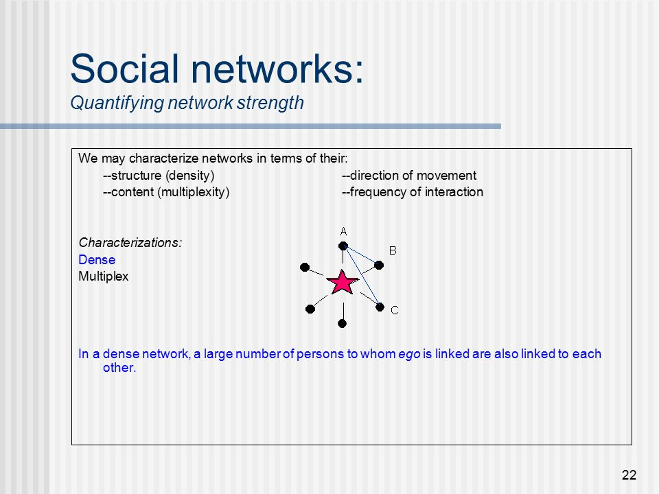 22 Social networks: Quantifying network strength We may characterize networks in terms of their: --structure (density)--direction of movement --content (multiplexity)--frequency of interaction Characterizations: Dense Multiplex In a dense network, a large number of persons to whom ego is linked are also linked to each other.