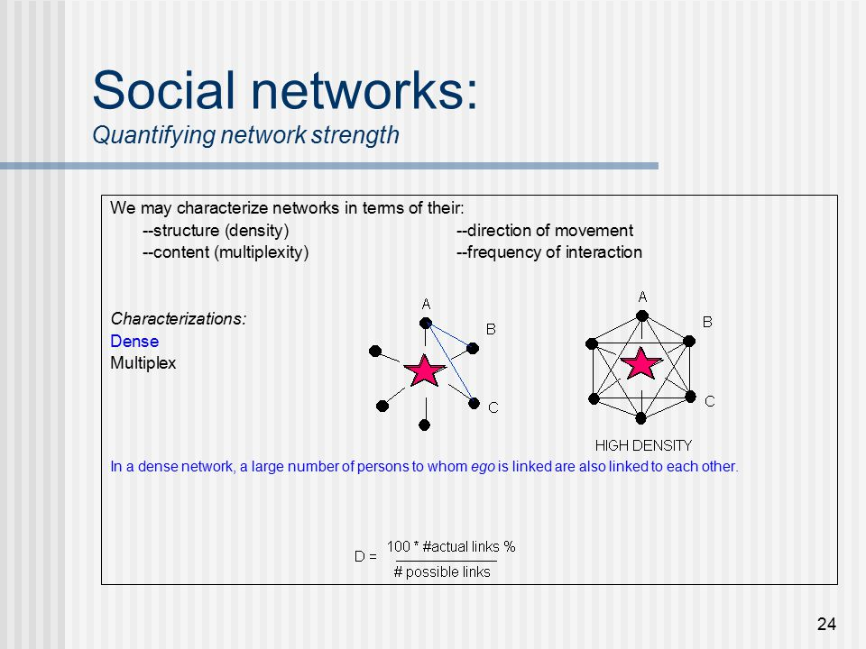 24 Social networks: Quantifying network strength We may characterize networks in terms of their: --structure (density)--direction of movement --content (multiplexity)--frequency of interaction Characterizations: Dense Multiplex In a dense network, a large number of persons to whom ego is linked are also linked to each other.