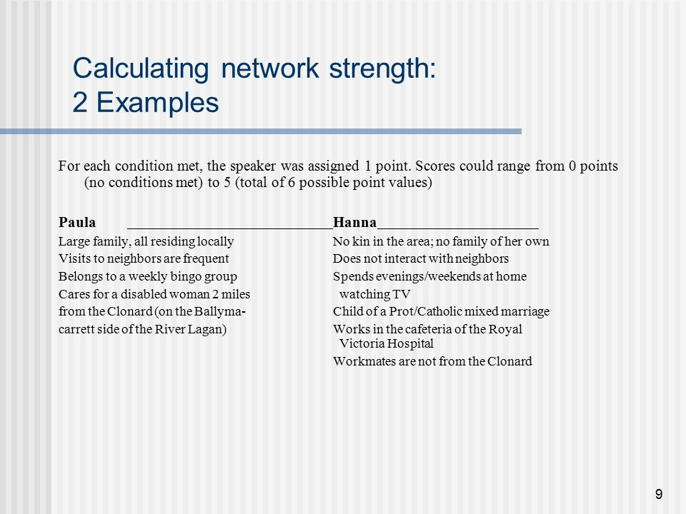 9 Calculating network strength: 2 Examples For each condition met, the speaker was assigned 1 point.