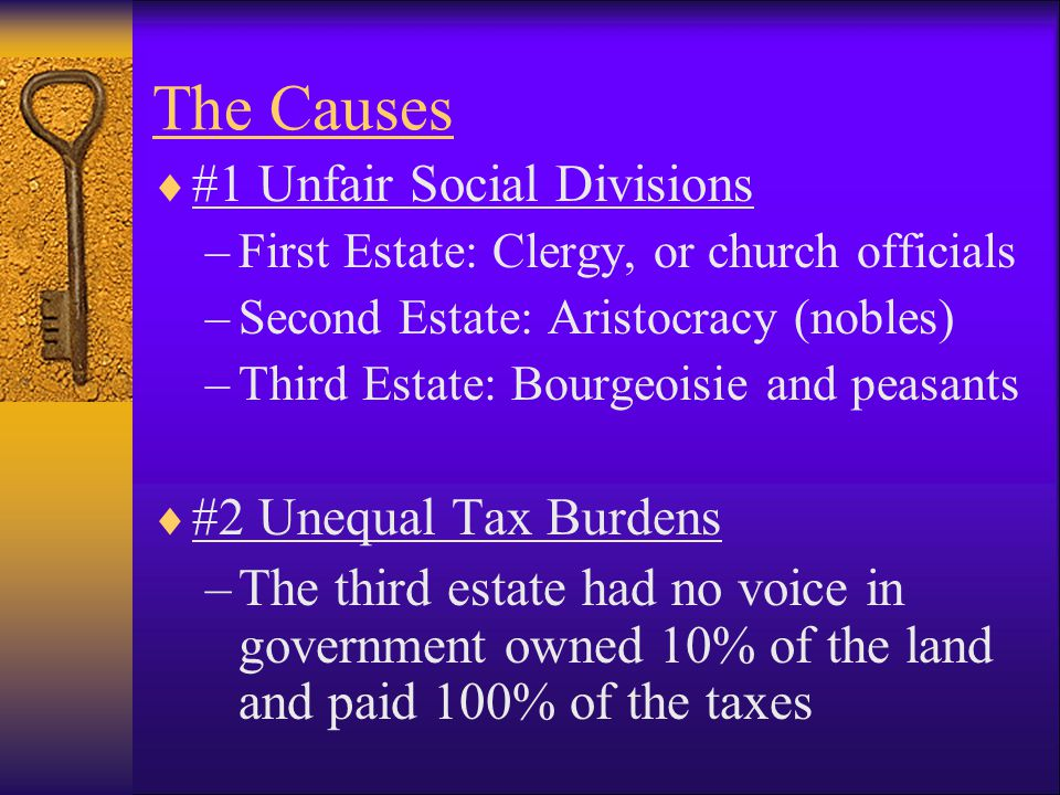The Causes  #1 Unfair Social Divisions –First Estate: Clergy, or church officials –Second Estate: Aristocracy (nobles) –Third Estate: Bourgeoisie and