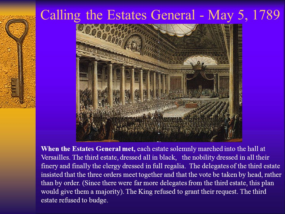 Calling the Estates General - May 5, 1789 When the Estates General met, each estate solemnly marched into the hall at Versailles. The third estate, dr