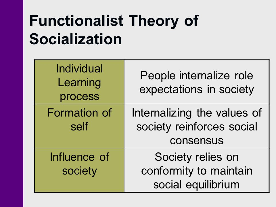 Functionalist Theory of Socialization Individual Learning process People internalize role expectations in society Formation of self Internalizing the
