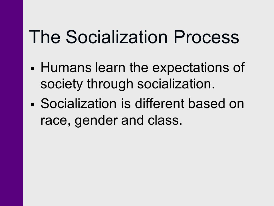 Functionalist Theory of Socialization Individual Learning process People internalize role expectations in society Formation of self Internalizing the values of society reinforces social consensus Influence of society Society relies on conformity to maintain social equilibrium