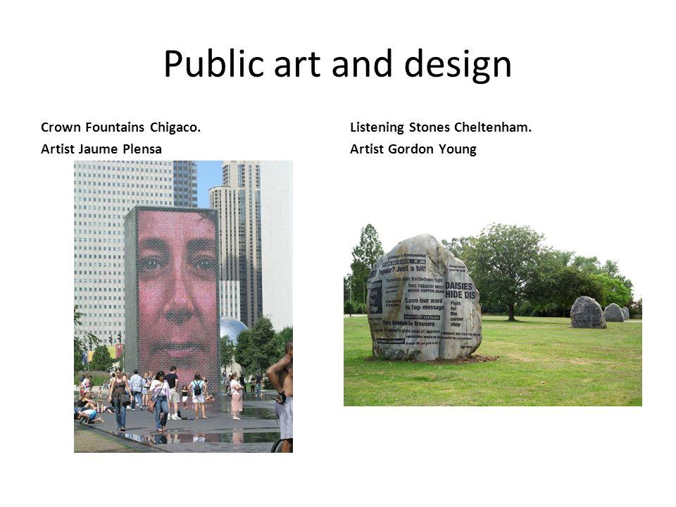 Public art and design Crown Fountains Chigaco. Artist Jaume Plensa Listening Stones Cheltenham.