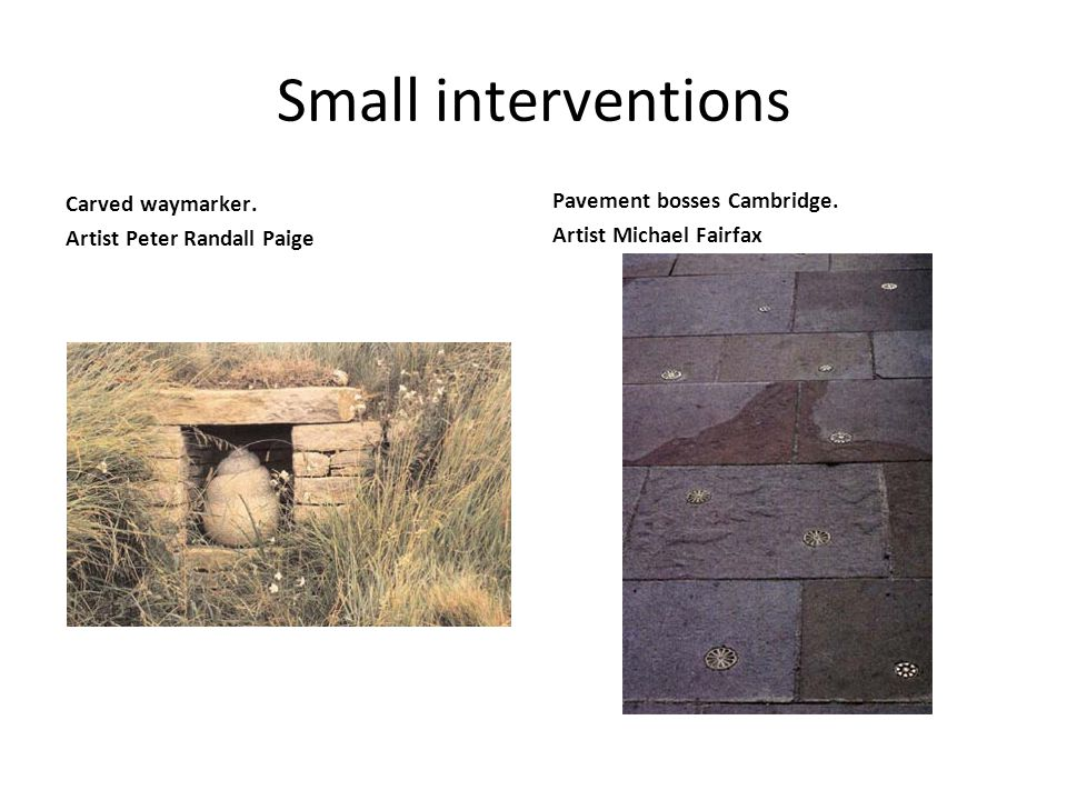 Small interventions Carved waymarker. Artist Peter Randall Paige Pavement bosses Cambridge.