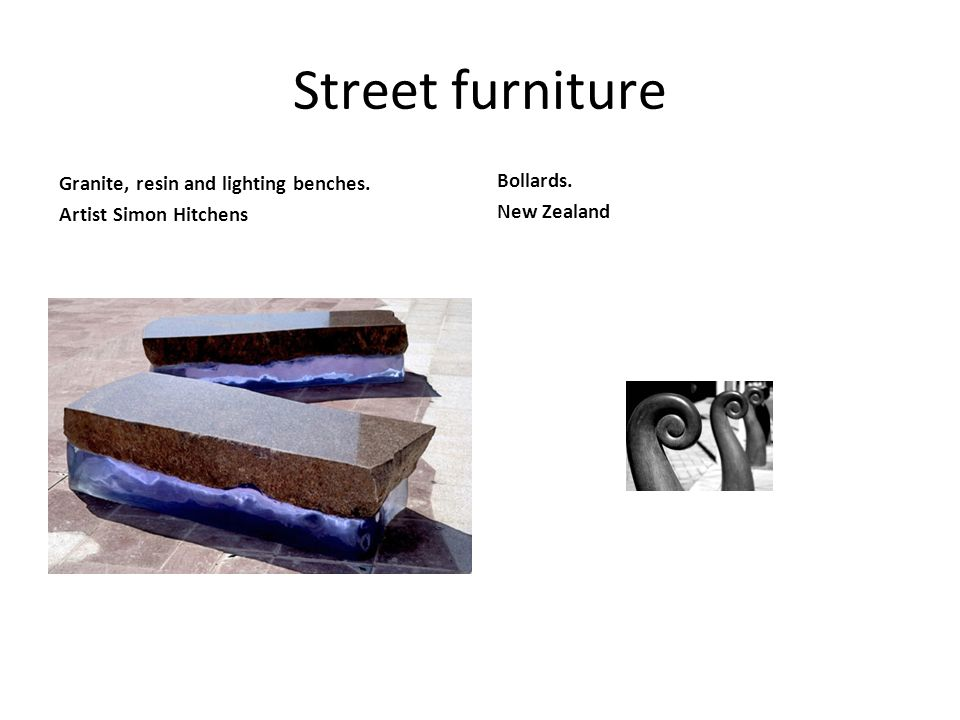 Street furniture Granite, resin and lighting benches. Artist Simon Hitchens Bollards. New Zealand