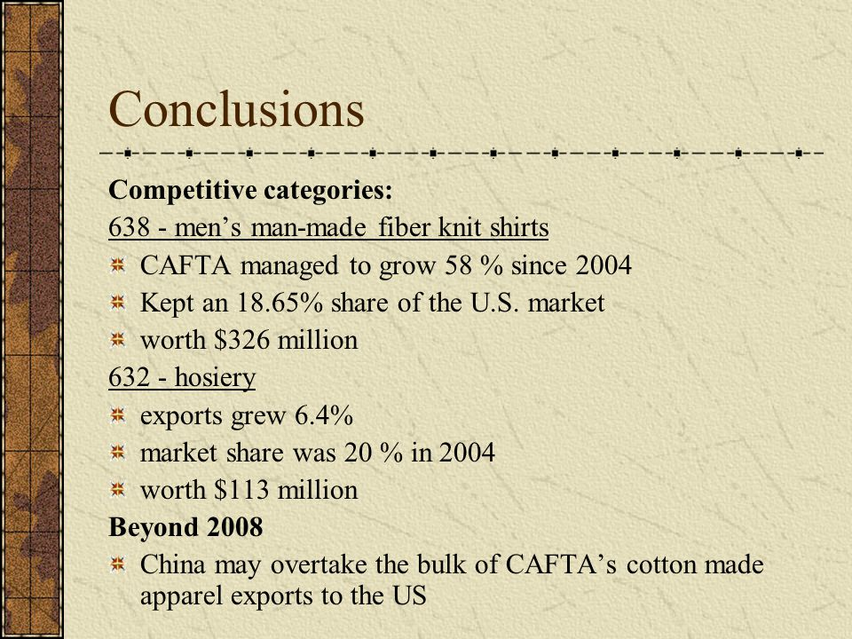 Conclusions Competitive categories: 638 - men's man-made fiber knit shirts CAFTA managed to grow 58 % since 2004 Kept an 18.65% share of the U.S. mark