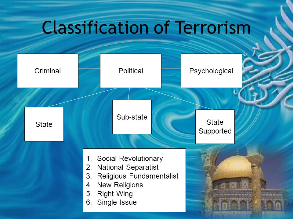 Criminal Classification of Terrorism PoliticalPsychological Sub-state State Supported 1.Social Revolutionary 2.National Separatist 3.Religious Fundamentalist 4.New Religions 5.Right Wing 6.Single Issue
