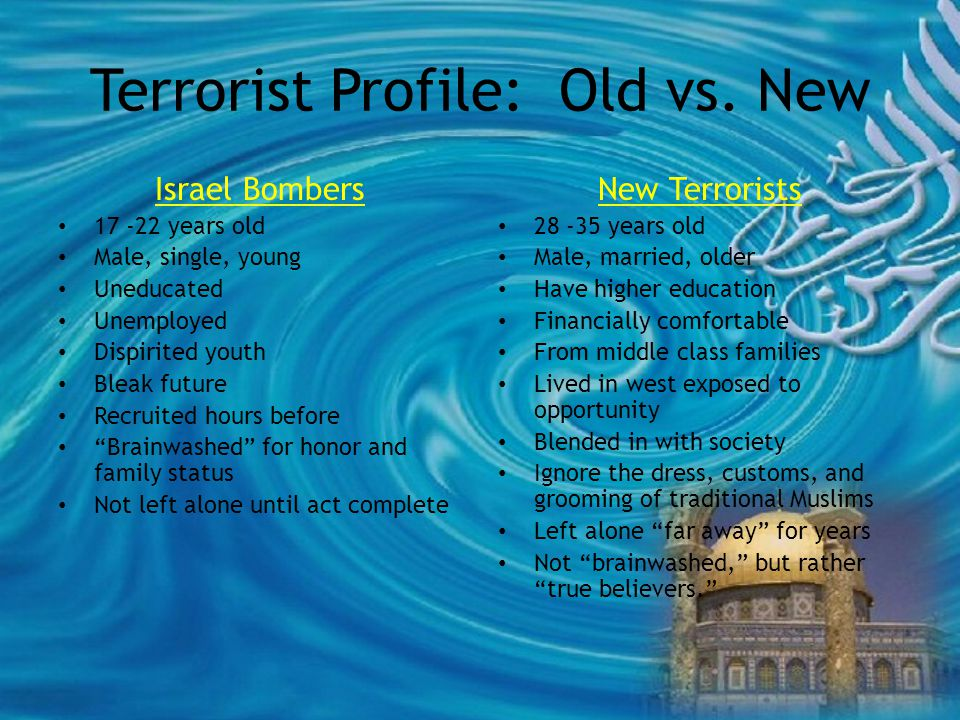 Terrorist Profile: Old vs.