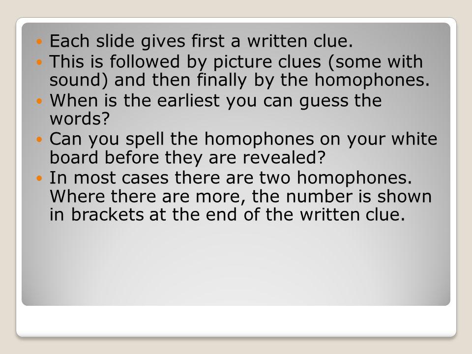 50 Homophone Puzzles 50 Homophone Puzzles Two or more words you pronounce the same.