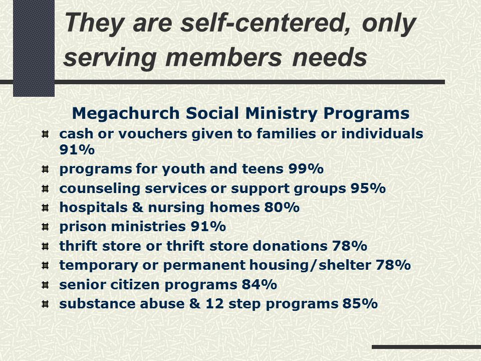 They are self-centered, only serving members needs Megachurch Social Ministry Programs cash or vouchers given to families or individuals 91% programs for youth and teens 99% counseling services or support groups 95% hospitals & nursing homes 80% prison ministries 91% thrift store or thrift store donations 78% temporary or permanent housing/shelter 78% senior citizen programs 84% substance abuse & 12 step programs 85%