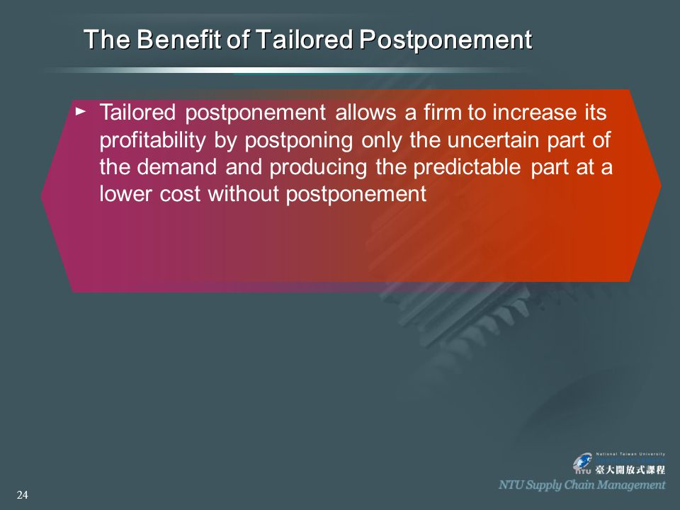 The Benefit of Tailored Postponement ►Tailored postponement allows a firm to increase its profitability by postponing only the uncertain part of the demand and producing the predictable part at a lower cost without postponement 24