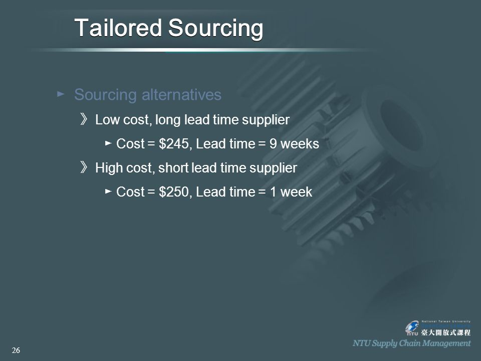 Tailored Sourcing ►S►Sourcing alternatives 》L》L ow cost, long lead time supplier ►C►Cost = $245, Lead time = 9 weeks 》H》H igh cost, short lead time supplier ►C►Cost = $250, Lead time = 1 week 26