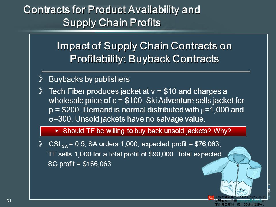 Contracts for Product Availability and Supply Chain Profits ►Many shortcomings in supply chain performance occur because the buyer and supplier are separate organizations and each tries to optimize its own profit ►Total supply chain profits might therefore be lower than if the supply chain coordinated actions to have a common objective of maximizing total supply chain profits ►Double marginalization results in suboptimal order quantity ►An approach to dealing with this problem is to design a contract that encourages a buyer to purchase more and increase the level of product availability ►The supplier must share in some of the buyer's demand uncertainty Impact of Supply Chain Contracts on Profitability: Buyback Contracts 》 Buybacks by publishers 》 Tech Fiber produces jacket at v = $10 and charges a wholesale price of c = $100.