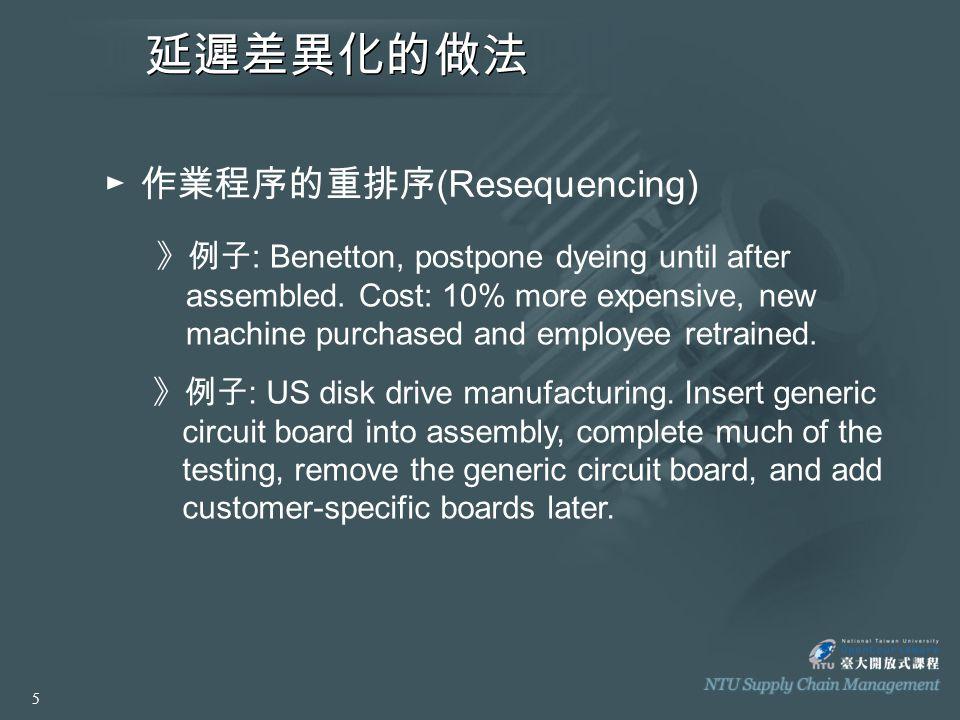 延遲差異化的做法 ► 產品的共通性 (Commonality) 》例子 : Printer manufacturing, redesign the new and old products to share a common circuit board and printhead such that final process can be delayed.