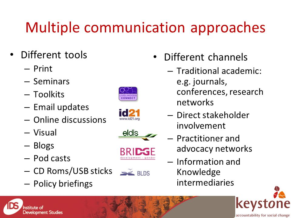 Multiple communication approaches Different tools – Print – Seminars – Toolkits – Email updates – Online discussions – Visual – Blogs – Pod casts – CD Roms/USB sticks – Policy briefings Different channels – Traditional academic: e.g.