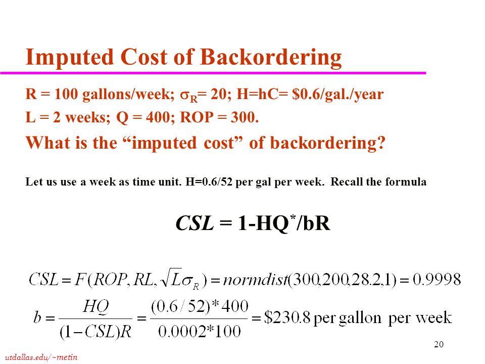 utdallas.edu /~metin 20 Imputed Cost of Backordering R = 100 gallons/week;  R = 20; H=hC= $0.6/gal./year L = 2 weeks; Q = 400; ROP = 300. What is the