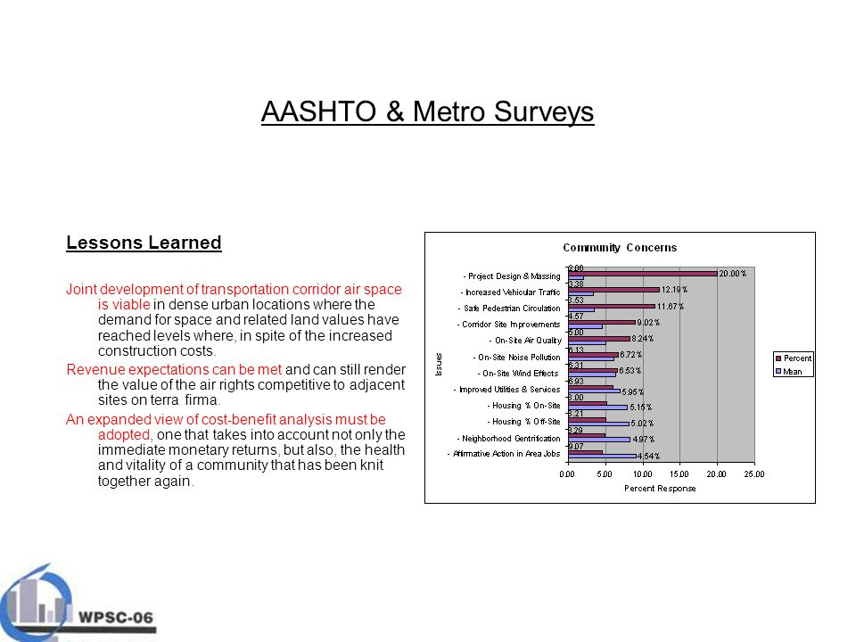 AASHTO & Metro Surveys Lessons Learned Joint development of transportation corridor air space is viable in dense urban locations where the demand for space and related land values have reached levels where, in spite of the increased construction costs.