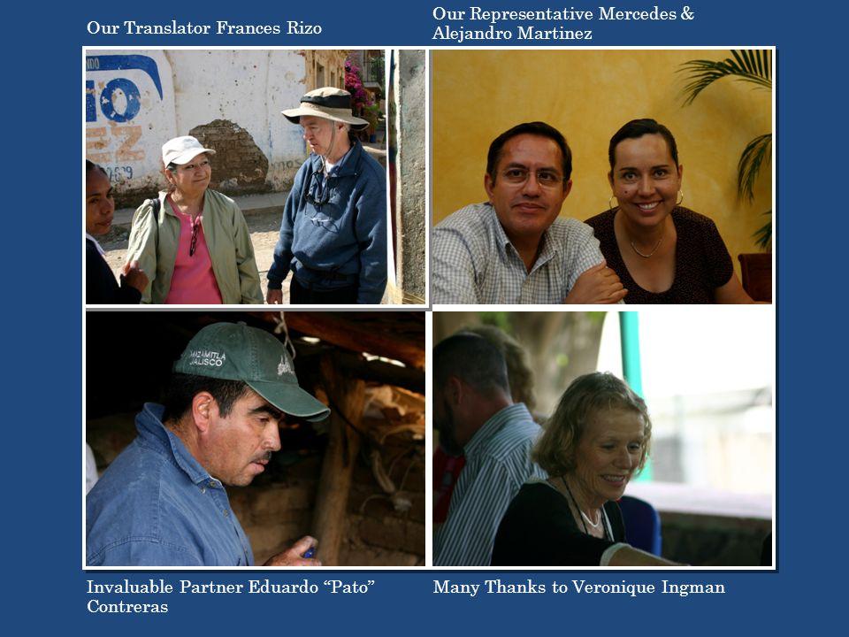 Invaluable Partner Eduardo Pato Contreras Our Translator Frances Rizo Many Thanks to Veronique Ingman Our Representative Mercedes & Alejandro Martinez