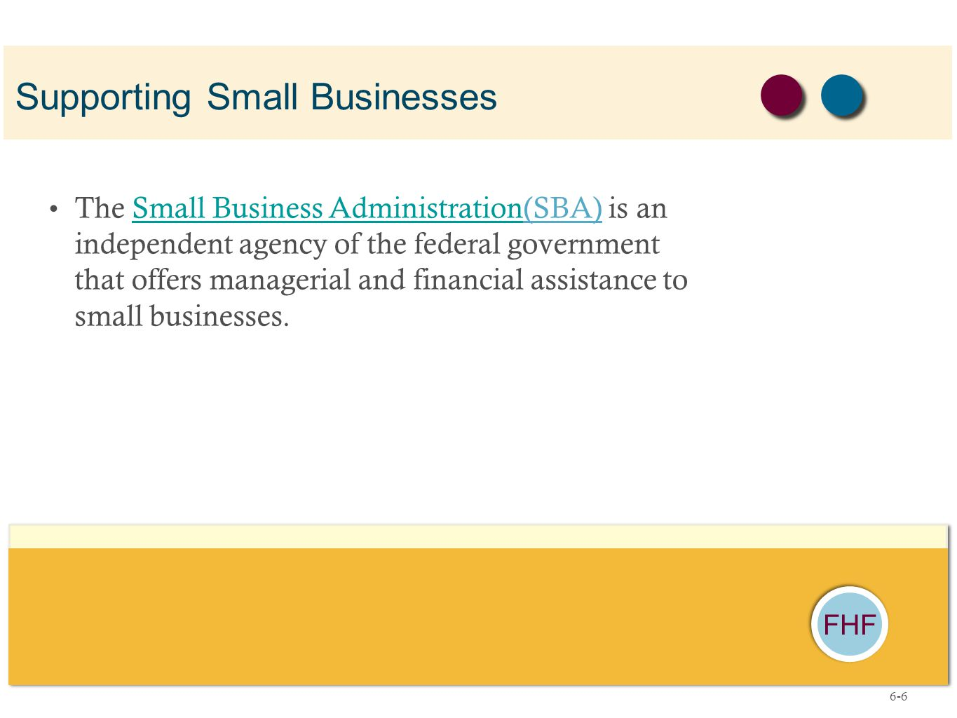 FHF The Small Business Administration(SBA) is an independent agency of the federal government that offers managerial and financial assistance to small businesses.Small Business Administration Supporting Small Businesses 6-6