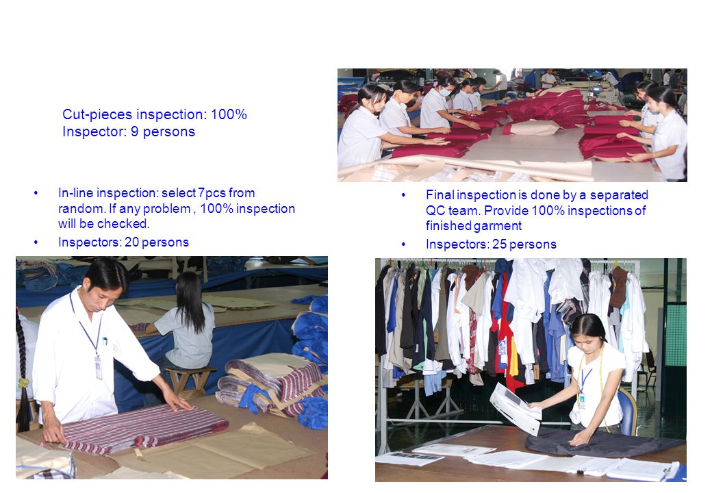 Cut-pieces inspection: 100% Inspector: 9 persons In-line inspection: select 7pcs from random. If any problem, 100% inspection will be checked. Inspect