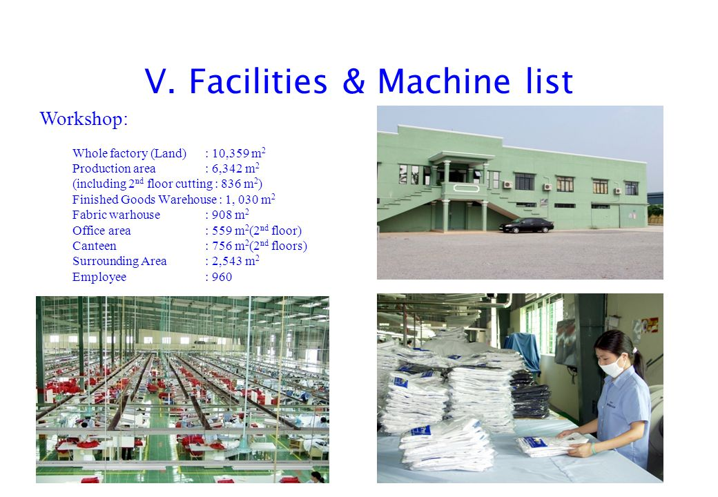 V. Facilities & Machine list Whole factory (Land): 10,359 m 2 Production area: 6,342 m 2 (including 2 nd floor cutting : 836 m 2 ) Finished Goods Ware