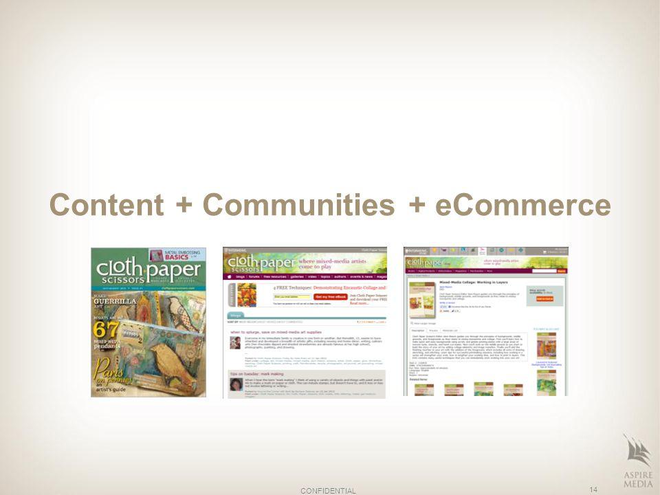 Content + Communities + eCommerce 14 CONFIDENTIAL