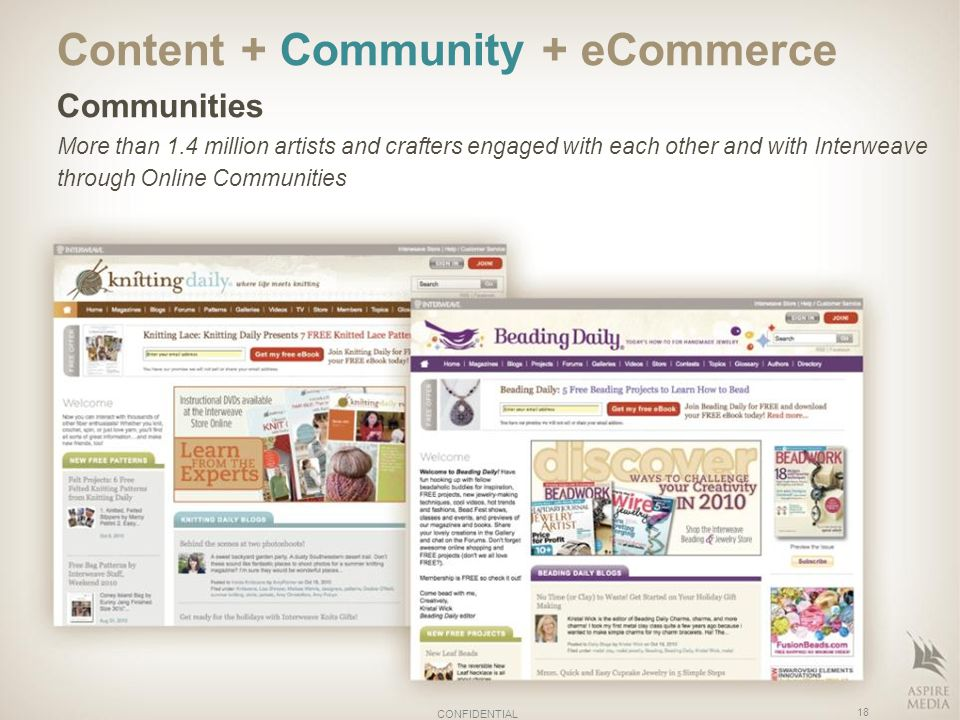 Content + Community + eCommerce Communities More than 1.4 million artists and crafters engaged with each other and with Interweave through Online Communities 18 CONFIDENTIAL
